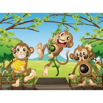 Fotomural infantil THREE MONKEYS FT-1458