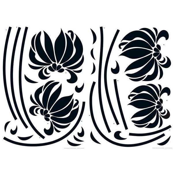 Sticker Black Flowers 74110