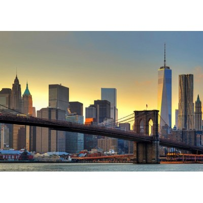 Fotomural BROOKLYN BRIDGE AT SUNSET