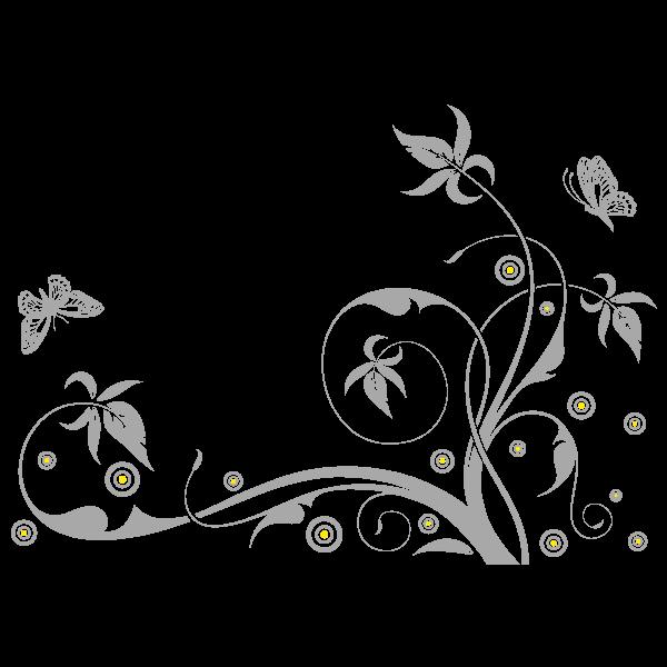 Vinilo Decorativo Floral FL202, Grande, Gris Claro 8288-04, Amarillo 8208-02, Invertir