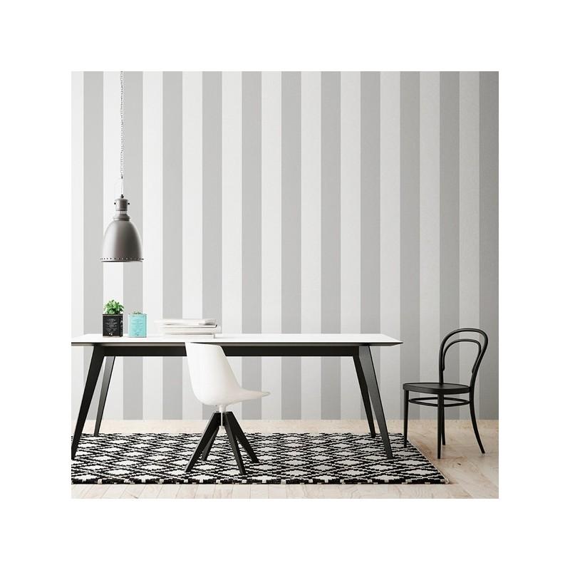 Papel Pintado Rayas gris y blanco 902