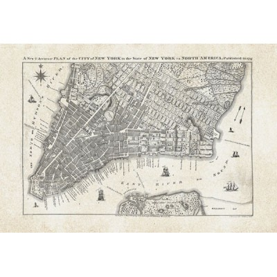 Fotomural OLD CITY MAP NEW YORK