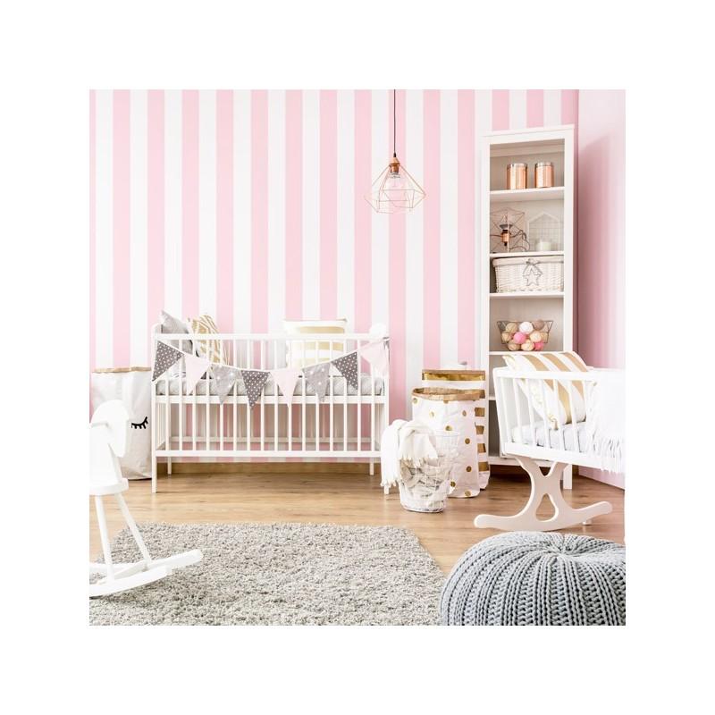 Papel Pintado rayas rosa palo y blanco 904
