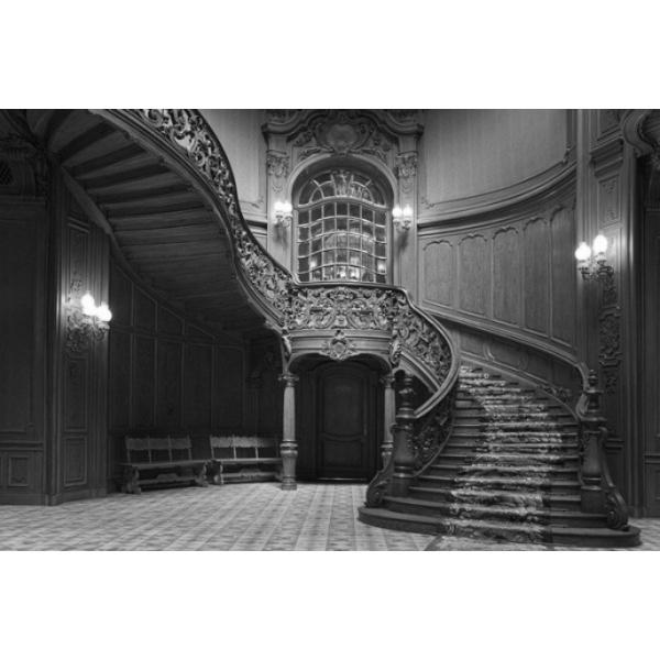 Fotomural Escaleras Mansion FPR008, 160cm. x 107.2cm., Vinilo Autoadhesivo Mate, Blanco y Negro, Invertir, 0x0x0x0 cm.