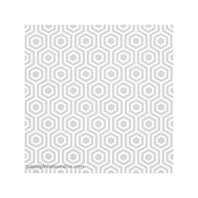 Papel Pintado Geometrico 942 Gris con fondo blanco
