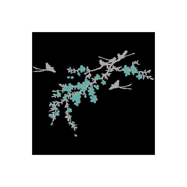 Vinil Decorativo Floral FL213, Pequeño, Gris Claro 8288-04, Turquesa Antiguo 8938-40, Original
