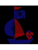 Vinil Decorativo Infantil IN211, Mediano, Azul Oscuro 8238-01, Rojo Burdeos 8258-05, Original