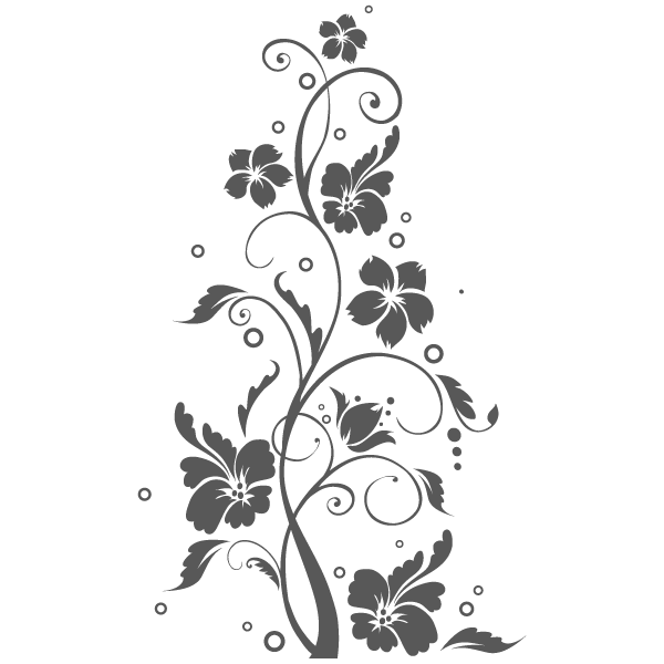Vinilo Decorativo Floral FL115, Grande, Gris Oscuro 8288-01, Original