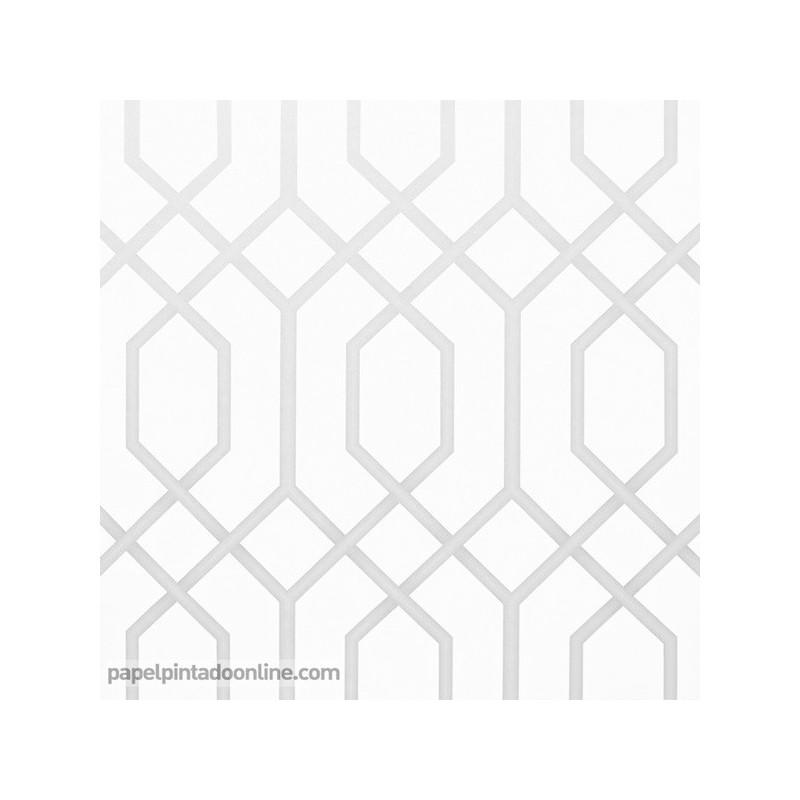 Papel Pintado Geometrico 972 fondo blanco diseño en gris
