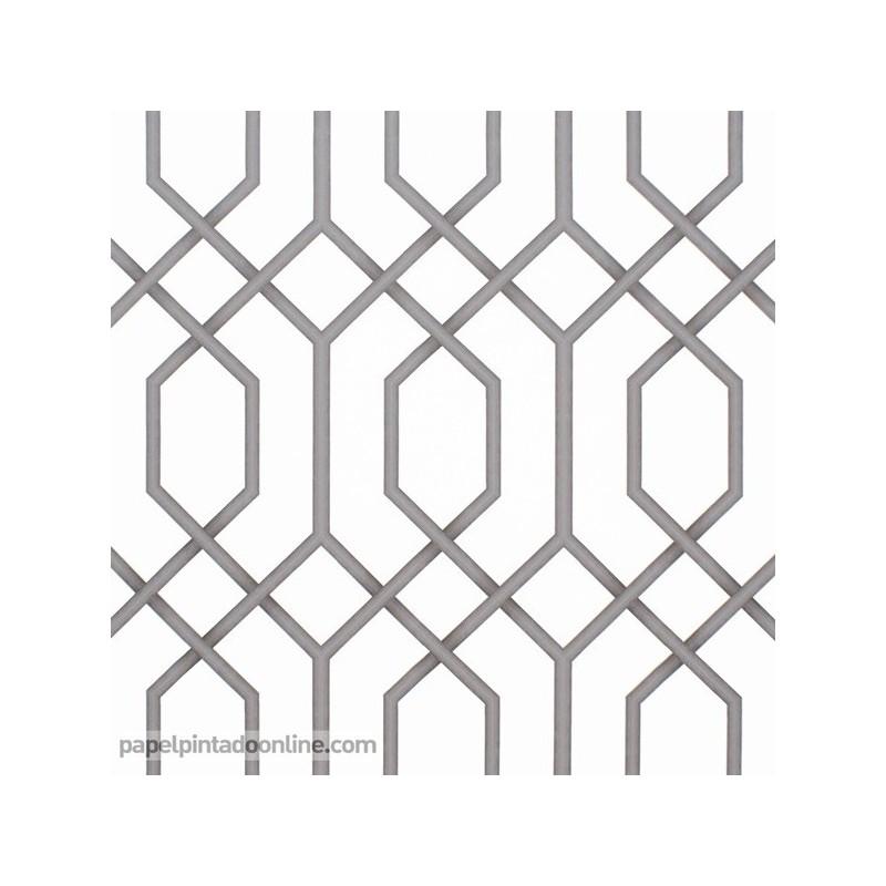 Papel Pintado Geométrico Tipo Reja en Gris antracita 975
