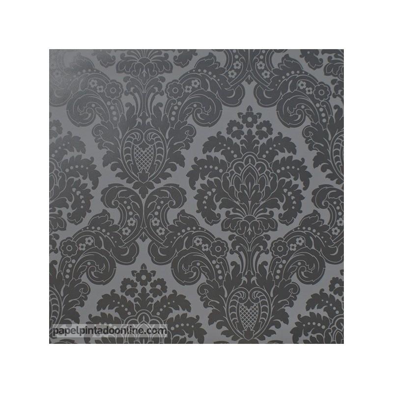 Papel Pintado Damasco Negro Perlado 5288-1