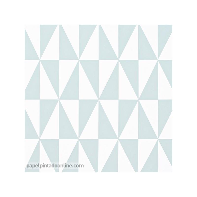 Papel Pintado Geométrico de Estilo nordico Azul verdoso 993