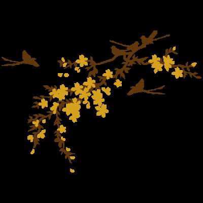 Vinil Decorativo Floral FL213, Mediano, Marron 8282-01, Mostaza 8908-20, Original