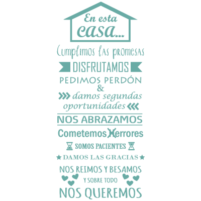 Vinilo Decorativo Texto TE036, Pequeño, Turquesa Antiguo 8938-40, Original