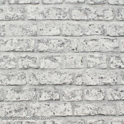 Papel de parede TIJOLO CINZA 889606