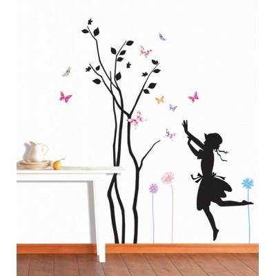 STICKER TREE & GIRL DP-08076