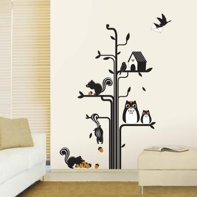 STICKER OWLS SQUIRRELS TREE DP-08164