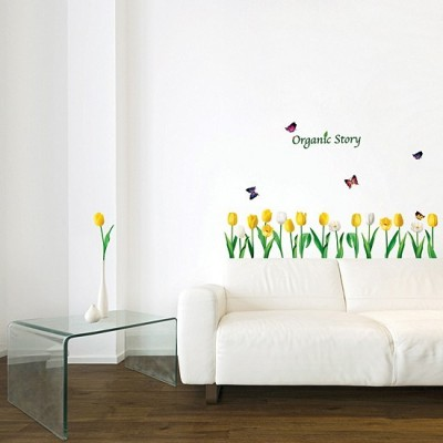 STICKER YELLOW & WHITE TULIPS FLOWER DP-08197