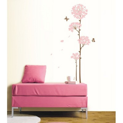 STICKER LONG STEM PINK FLOWER DS-08242