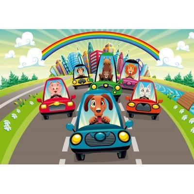 Fotomural infantil RACE ON CARS FT-0154