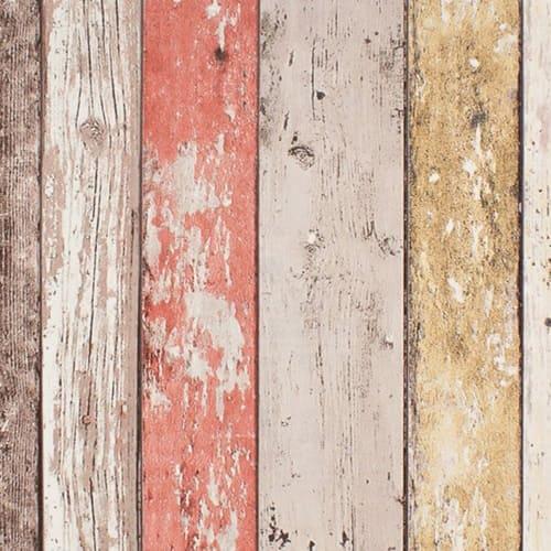 Papel pintado listones de madera de colores
