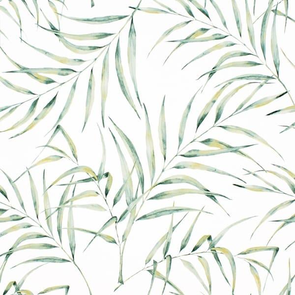 papel pintado hojas palmera verde ocre