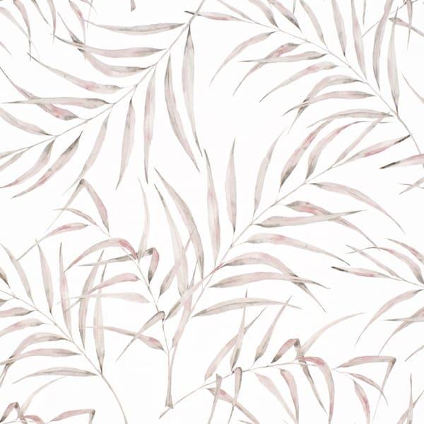 papel pintado hojas de palmera rosa grisaceo