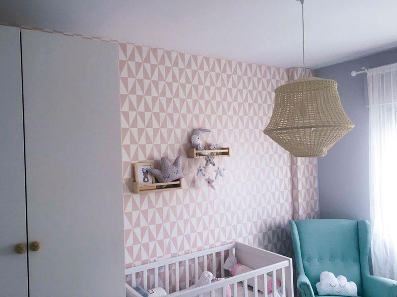 Papel Pintado Geométrico Rosa Habitación infantil