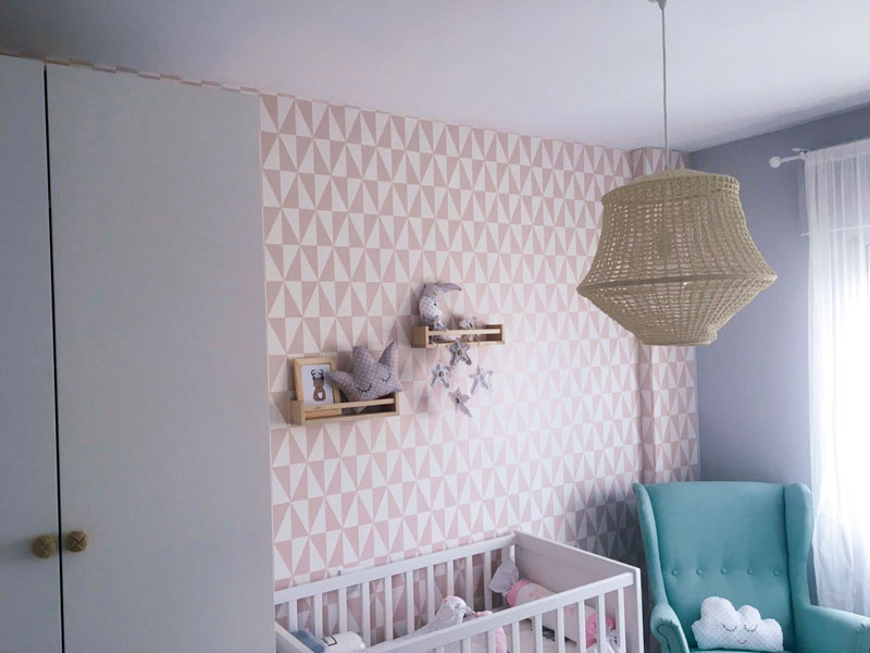 Papel pintado infantil geométrico rosa 994